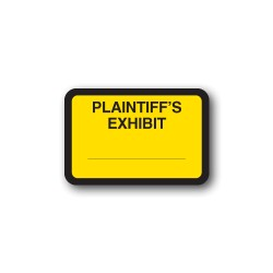 "Yellow Exhibit Labels ""PLAINTIFF'S EXHIBIT"""
