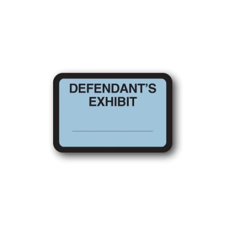 """Blue Exhibit Labels """"DEFENDANT'S EXHIBIT"""""""