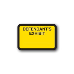 "Yellow Exhibit Labels ""DEFENDANT'S EXHIBIT"""