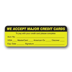 """We Accept Major Credit Cards"" Label"