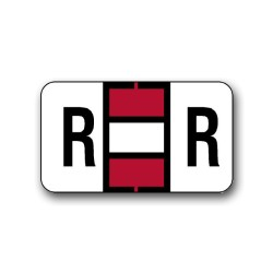"Jeter 0200 Color Coded Alphabetical Labels ""R"" (15/16"" x 1-5/8"")"