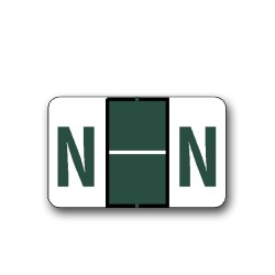 """Tab Products & Jeter 5100 Color Coded Alphabetical Labels """"N"""" (15/16"""" x 1-1/2"""")"""